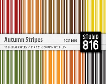 Autumn Stripes - Digital Paper for Scrapbooking, Cardmaking, Blogs, Papercrafts #10311605