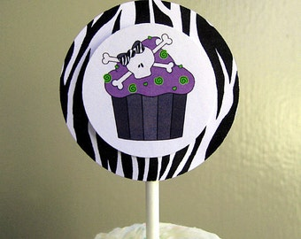 purple lime zebra skull cupcake costume halloween birthday party girlie personalized cupcake cake toppers decorations - set of 12