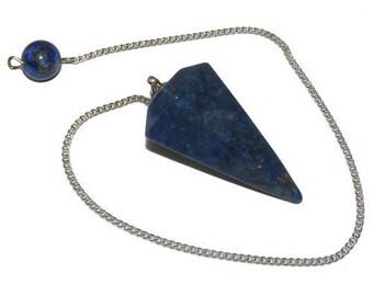 Faceted lapis lazuli pendulum