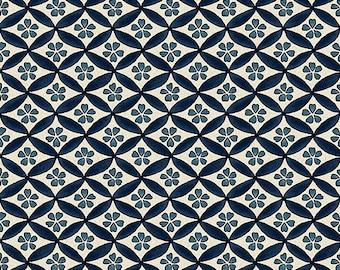 Navy Blue Cherry Blossom Geometric Asian Japanese Fabric (By the Half Yard)