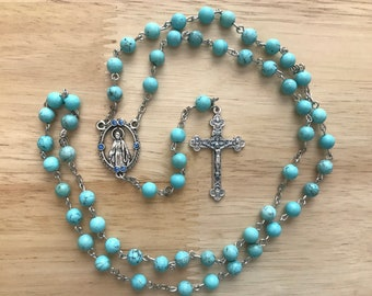 Limited Edition Handmade Catholic Rosary: Miraculous Medal with Green/Turquoise Gemstone Beads
