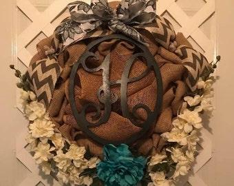 Monogram Wreath - Everyday Burlap Wreath - Front Door Wreath - Housewarming Gift - Gift For Her - Everyday Wreath - Wedding Shower Gift -