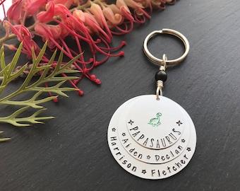 Personalised Christmas Gift - Personalised Keyring for Dad - Hand Stamped Keyring - Papasaurus keyring - Novelty Keyring for Dad