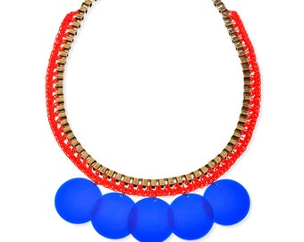 Long Necklace, Massive statement Necklace oversize bold metal red and Blue Plastic Disc