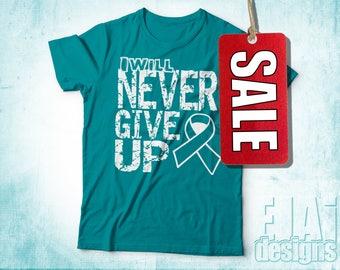 Dysautonomia, Scleroderma, Ovarian Cancer Shirt, Cervical Cancer, Myasthenia Gravis, Interstitial Cystitis, Teal, Cancer Ribbon Shirt