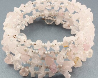 Memory Wire Wraparound Bracelet with Light Pink Rock-Shaped Beads