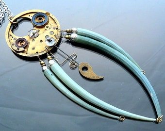 Steampunk Necklace Huge Crab Nebula gears cogs springs watch parts green shell legs Aquamarine orb jewelry