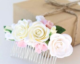 Wedding Flower Comb, Bridal Hair Piece, Wedding Hair Accessories, Floral Comb