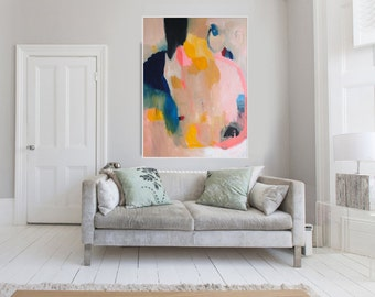 "Large Original Abstract giclée print of  Painting, beige yellow and  blue painting ""Out of Her Loop"""