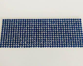 Plate of 504 stickers 5mm blue rhinestones