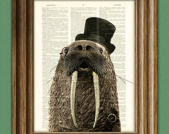 Walrus Art Print Aristocrat WALRUS with a top hat, monocle, and fancy watch illustration beautifully upcycled dictionary page book art print