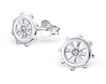 Crystal Ship Wheel Helm Nautical Stud Earrings 925 Sterling Silver - ES6160