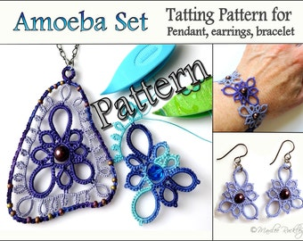 "Tatting Pattern ""Amoeba Triangle"" for pendant earrings and bracelet PDF pattern Instant Download"