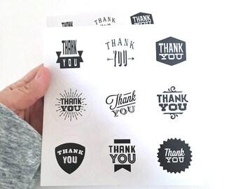 18 thank you sticker - thank you label - favor sticker - wedding round thank you sticker - wedding favors - envelope seals - circle