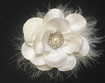 Flower Girl Hair Accessory, White, Ivory, Gray, Mint, Navy, Pink, Coral, Peach Hair Flower Clip, Baptism Baby Headband, Dance  Hair clip