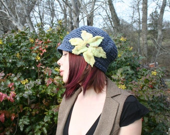 Blue Tweed Wool Slouchy Newsboy Brim Hat with Yellow Felted Flower