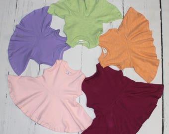 Spring Peplum Tops, Girls Sleeveless, Tank Top, Tunic, Circle Peplum, Girls Shirt, Ready to Ship