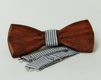 Mens wooden bow tie with pocket square. Wood Handmade BowTie.