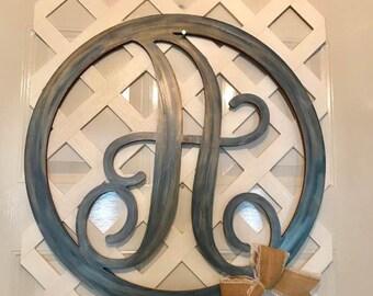 Monogram Home Decor - Door Hanger - Door Wreath - Monogram Wedding Gift - Monogram Door Hanger - Rustic Home Decor - Rustic Wedding Decor- A