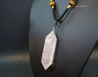 Large Rose Quartz Point Necklace Men's Stone Necklace