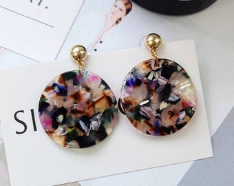 Acrylic Curved Disk Drop Earrings Simple Earrings Gift for Her