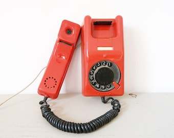 USSR phone Lana vintage/Old phone/Phone Russia/70s 80s phone red/table-Phone