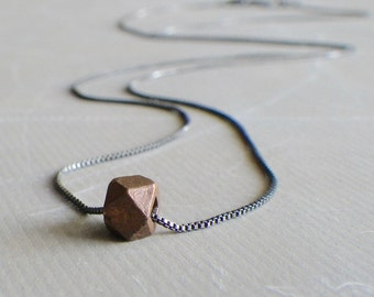 Copper Bead on Oxidized Sterling Silver, Single Faceted Bead Necklace, Simple Geometric Bead Necklace, Mixed Metal Jewelry