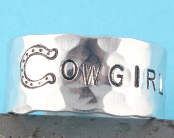 SALE - Cowgirl Up Ring - Adjustable Aluminum Ring - Hand Stamped Ring - Horseshoe Ring - Mother's Day Gift - Ring Sizes 5 6 7 8 9 10 11 12