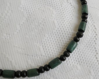 Green Betel Nut and Black Wood Necklace