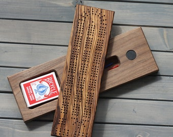 Zebrawood cribbage board, crib board, card game, pegs, metal pegs available