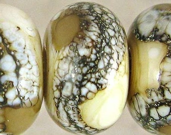 Tan and Ivory Lampwork Glass Bead Set of 6 Small 11x7mm Coffee and Cream