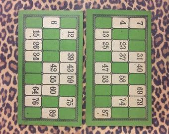 Set of 2 Vintage Lotto Cards Bingo Game