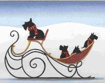 Scottie (scottish terrier) family takes snowy sleigh ride / Lynch signed folk art print