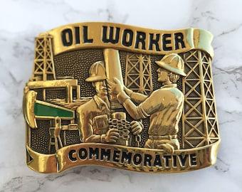 Vintage Men's Belt Buckle Oil Worker Commemorative Solid Brass 1984 Baron Buckle Limited Edition