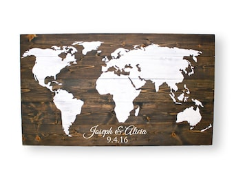 Wedding Guest Book- World Map Push Pins- Wood Signs Personalized- World Map Guest Book- Travel Wall Decor- Personalized World Travel Map