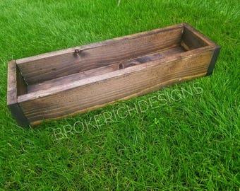 Wood box, wood centerpiece, rustic box, reclaimed wood box, wedding, herb garden, wood planter, planter box, rustic decor, wood planter, box