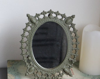 Vintage Victorian Game Of Thrones Gothic Medieval Style Table Top Vanity Boudoir Mirror Cast Iron Olive Green Painted With Removable Back