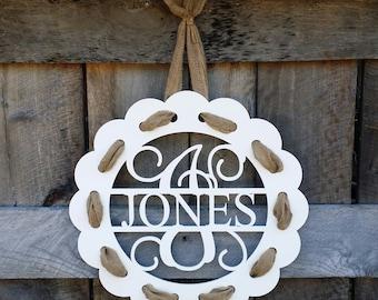 Painted Monogram Door Hanger With Burlap Ribbon - Distressed Personalized Door Hanger - Wall Hanging - Housewarming Gift - Wedding Gift
