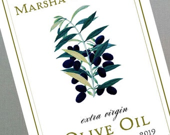 Olive Oil tags or labels, Classic Olive Oil, Wedding Olive Oil Food  Label or Gift Tag with  your Text, Set of 18, various sizes.