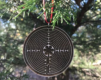 Chartres Labyrinth Ornament (wooden, sacred path, pilgrimage, birth)