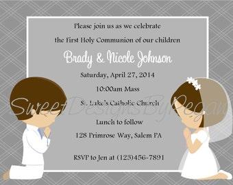 First Communion Invitation - Twins  (Digital File) / 1st Communion Invitation / First Communion Invite / Twins First Communion Invitation