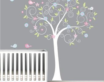 Children Wall Decals Vinyl wall decal Tree with flowers-Vinyl Tree Wall Decal-e175