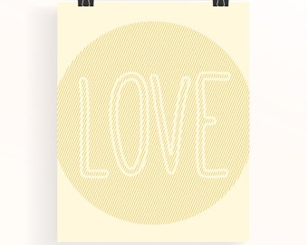 Yellow Love poster - baby girl nursery poster - typography print - baby yellow nursery art - baby shower gift