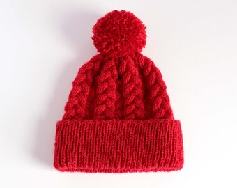 Braided Cable Knit Beanie - Red