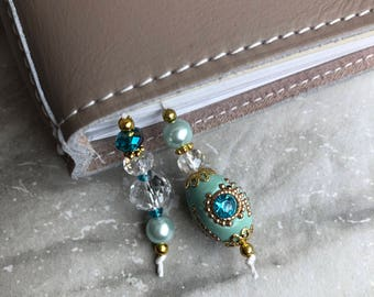 BEADED BOOKMARK for Travelers Notebooks | Planners | Journals | Books antique TEAL with crystal and gold accents