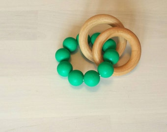 Wood and Silicone Teething Toy, Teething Ring, Teething Rattle, Wooden Rings, Silicone Beads, EMERALD GREEN