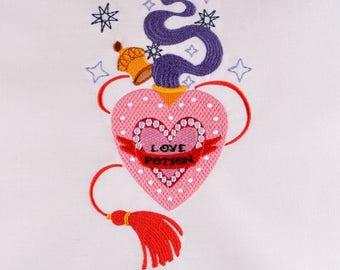 Amortentia Love Potion 5x7 machine embroidery design