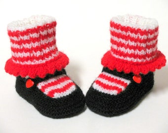 Knitted Raggedy Jane Baby Booties