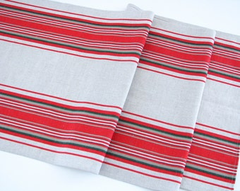 Linen Table Runner / Striped / Red Stripes
