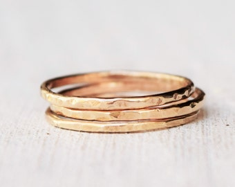 Solid Gold Rings - Set of Three - 14 Karat Gold - Delicate Jewelry - Bohemian - Boho - Gypsy - Petite Jewelry - Stacking Rings - Size 4 to 9